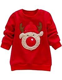 MYQyiyi Niños Otoño Navidad Conjunto de Suéter Impresa Elk (Rojo, 4 años)