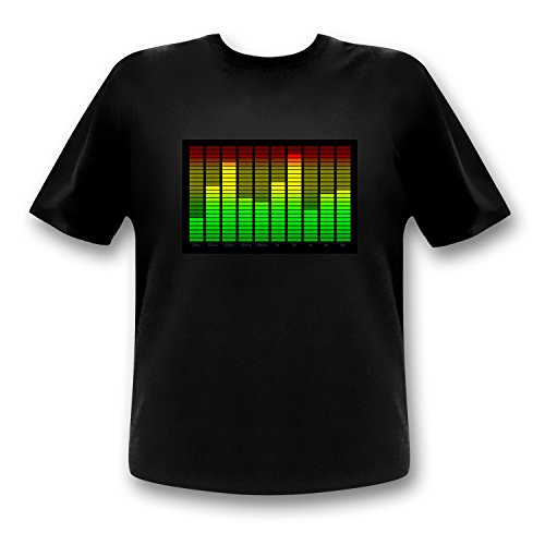 (10-Kanal Equalizer LED T-Shirt Fun Party Shirt Mann (l))