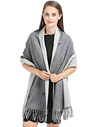 "Saferin 78""x28"" Women Soft Luxurious Solid Cashmere Double-sided Pashmina Wrap Shawl Stole Scarf (31.dark Grey..."