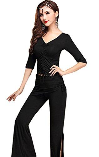 YiJee Damen Tanzkleidung Bauchtanz -Kostüm-Set Tops & Split Wide-leg Pants Schwarz XL (Der Klang Der Musik Kostüme)