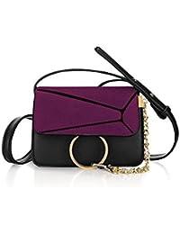 Unique Bargains Women's Paneled Adjustable Straps Flap Chain Loop Crossbody Bag