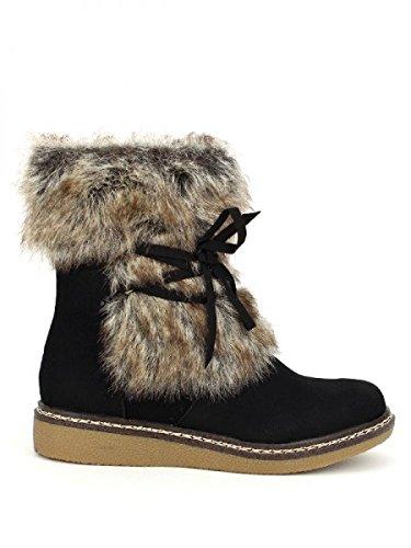 Cendriyon, Bottines Noires fourrure SOIKA Chaussures Femme Noir
