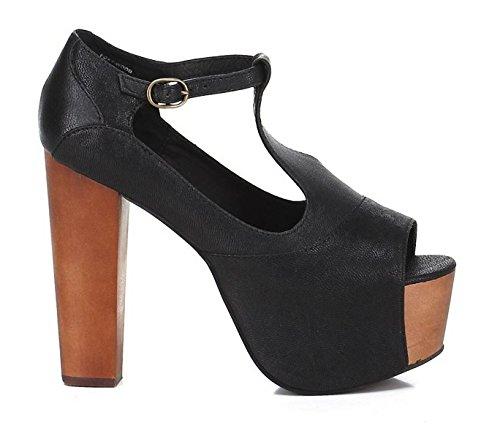 Jeffrey Campbell Foxy Wood Black–Schwarze Schuhe aus Leder Absatz Holz Schwarz
