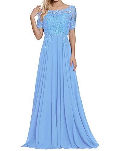 Ballkleider Perlen Damen Chiffon Spitze Abendkleider Brautmutter Kleider Lang Festkleid Übergröße Light Blue EUR54 - Ballkleid Light