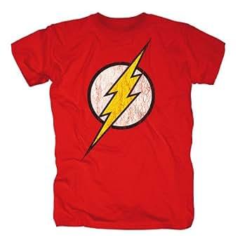 Bravado Herren T-Shirt Justice League - Flash Logo, Gr. 48/50 (M), Rot (rot)