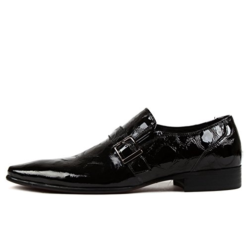 Scarpe Da Uomo In Pelle Casual Dress Autunno Business Wedding Moda Slip On Marrone-nero Nero