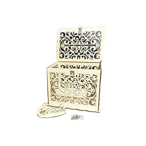 Meetforyou Aufbewahrungsbox Aus Holz, Hochzeitskarte Briefkasten, 30 23 24cm Höhle Briefsammlung Box mit Schloss, Vintage Dekor Grußkarten Boxen