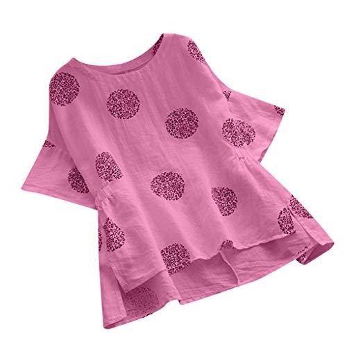 Baumwoll-gaze-big-shirt (LSAltd Mode Frauen Sommer Ethnischen Stil Big Dot Print Plus Größe Baumwolle T-Shirt Bluse Damen Casual Rüschen Kurzarm Übergroße Tops)