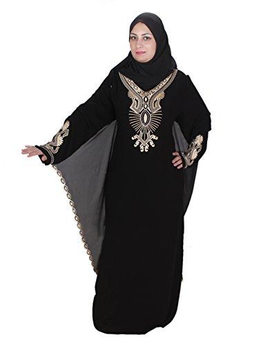 Egypt Bazar Abaya Festkleid, im Islamischen Stil, inkl. Passender Schleier/Kopftuch. schwarz-Gold...