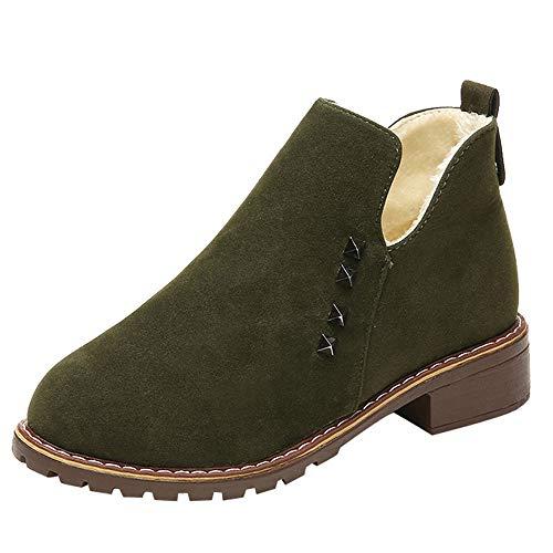 MYMYG Damen Ankle Boots Chelsea Boots Mode Frauen Nieten Flache Schuhe Martain Boot Wildleder Slip-On Stiefel Runde Kappe Schuhe Stiefel Herbst Winter Flache Freizeitschuhe