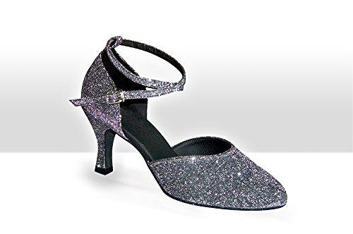 Exclusive Dance Shoes Tanzschuhe, silbergrau Glitter, 55mm Silbergrau Glitzer