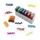 coloré auto-encreur Motivation d'école enseignant d'étalonnage des Ensemble de tampons et plateau (8pièces)