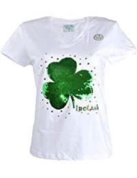 8c8e45978fb Carrolls Irish Gifts Shamrock Designed Ladies V-Neck T-Shirt with 2-Way  Sequins