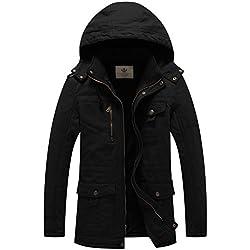 WenVen Homme Parka à Capuche Veste d'hiver Fourrure Doublure Manteau Militaire Noir Large