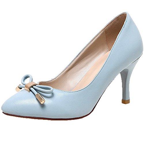 VogueZone009 Femme Tire Microfibre Pointu à Talon Haut Couleur Unie Chaussures Légeres Bleu Clair