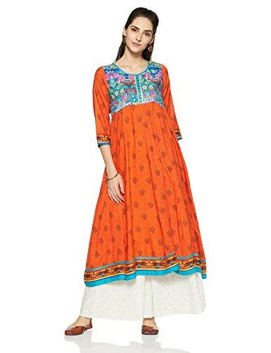 Rangriti Women's Straight Kurta (INDIAN P4224_Multicolor_34)