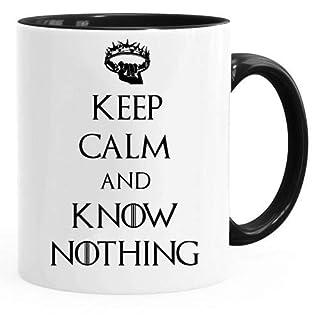 Acen Merchandise Game of Thrones Inspired 'Keep Calm and Know Nothing' - Fun Tasse 313ml Kaffee Tee Becher –Perfekt Valentines/Ostern/Sommer/Weihnachten/Geburtstag/Jahrestag Geschenk