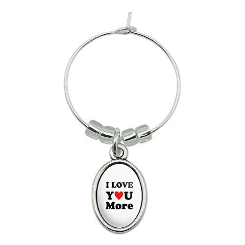 I Love You More avec cœur Verre de vin ovale Charm Boisson marqueur