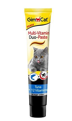 GimCat Multi-Vitamin Duo-Paste Thunfisch – 12 wertvolle Vitamine stärken das Immunsystem – ohne Zuckerzusatz – 1 Tube (1 x 200 g)