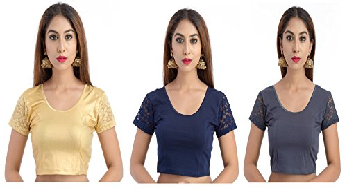 Fressia Fabrics Women's Cotton Saree Blouse (Combo_3(117_100_100Grey)_Gold_Free Size)