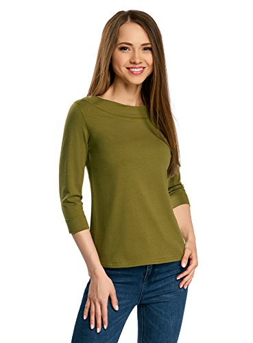 oodji Collection Damen T-Shirt mit 3/4-Arm, Grün, DE 40/EU 42/L