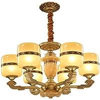 GKJ Araña china retro, lámpara del dormitorio de la sala de estar Restaurante chino lámpara del club de la sala de té Lámpara de cristal del estilo de la máscara del cristal de la aleación de zinc 6 cabezas E27, 61 * 61 * 40cm Variedad ( Tamaño : 61*40cm )