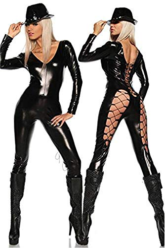 Kleid Kostüm Cat - CWZJ Nasse Optik Cat Lady Jumpsuit Engen Bodysuit Bein Taille Design V-Neck Kostüm Kleid Cat Suit