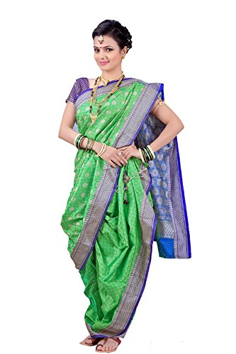 Bhartiya Vastra Bhandar Women's Ready To Wear Nauvari Saree(DNoA7_ParrotGreen_Green_FreeSize)