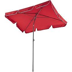 TecTake 800683 Parasol rectangulaire, de Balcon de Plage, inclinable et réglable, Protection UV 50+, 200 x 125 x 235 cm - Plusieurs Coloris - (Bordeaux | no. 403138-2)