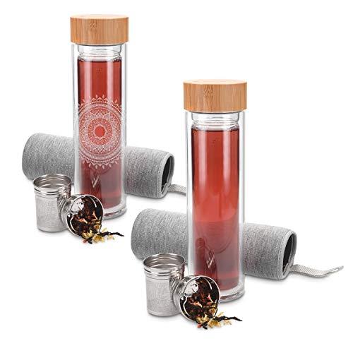 Navaris Botella de Agua de Cristal 500ML - Termo para té de Vidrio de borosilicato - con infusor de Acero Tapa de bambú y Funda de Neopreno - Gris