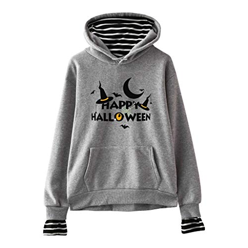 Pullover Damen Halloween Kostüm Sweatshirt mit Kapuze Gestreifte Oberteile Herbst Winter Loose Fit Kapuzenpullis Lomelomme Sweatjacke Kapuzenpullover Hoodie Vortäuschen Twin-Sets (Teenager Twin Kostüm)