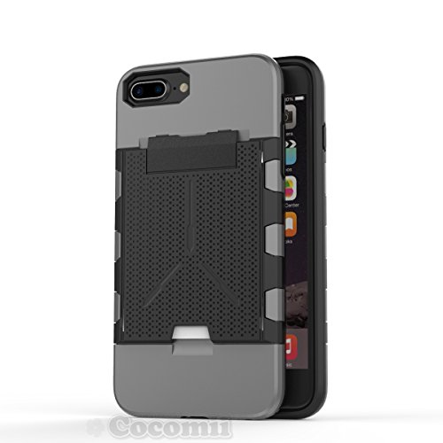 iPhone 8 Plus / 7 Plus / 6S Plus / 6 Plus Coque, Cocomii Viking Armor NEW [Heavy Duty] Premium Built-in Multi Card Holder Shockproof Hard Bumper Shell [Military Defender] Full Body Dual Layer Rugged C Gray
