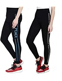 Icable Women's High Quality Stretchable Yoga Pant Gym legging Tights Black Set of 2