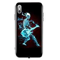 TEOYALL iPhone X Case,Luminous Effect Tempered Glass Back Cover Case [Anti-Scratch] with Soft Silicone Bumper for iPhone X- Skull Ghost with Flame