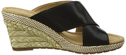 Gabor Damen Comfort Offene Sandalen mit Keilabsatz Schwarz (schwarz (Bast) 57)