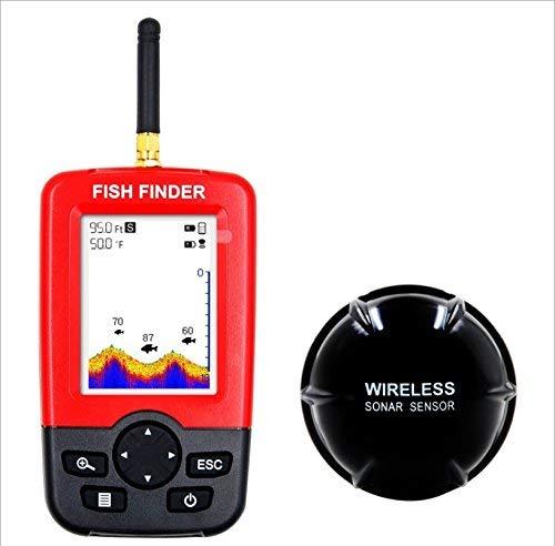 TYQ Fish Finder Drahtloser und Wiederaufladbarer Sonar-Sensor Intelligente LCD-Anzeige 100M Dot 45M Range Red, rot, EIN Red Dot Lcd