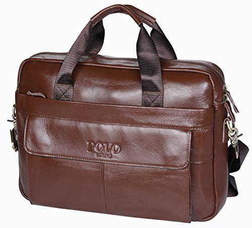 POLO VIDENG Original Leder 14 Zoll Laptop Tasche mit Riemen,Geschäft Schultertasche Griff Tasche Tablette Aktentasche zum Computer/Notizbuch /Tablette unter 15 Zoll (VCP-Kaffee Brown)