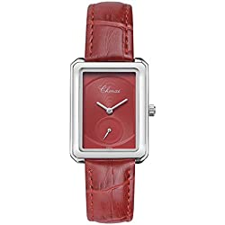 Fashion Rectangle Small Decorative Dial Luxury Leather Strap Quartz Women Wrist Watch,Red
