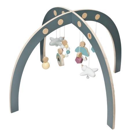 Sebra Speilbogen Spieltrapez Spielcenter Babygymnastikcenter Baby gym Holz Bogen 55 x 55 x 84 cm 55x55x84 cm Grau Bunt Design Activity Center NEU -