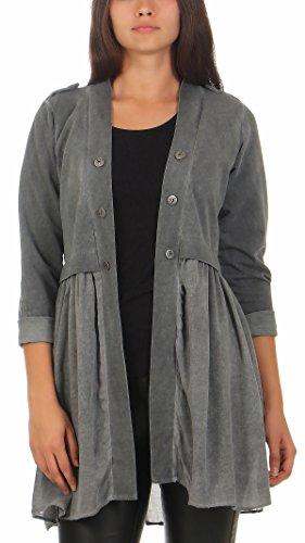 Lange Sakkos Damen (Malito Damen Blazer lang Kleid   Sakko im Washed Look   Kurzjacke mit Knöpfe   Jacke - Jackett - Blouson 8036 (dunkelgrau, XL))