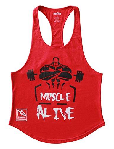 Musclealive Herren Bodybuilding Muskelshirt Stringer Weste Baumwolle (Athletic Singlet Herren Ärmelloses)