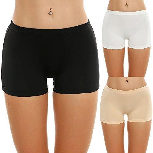 Ekouaer 3er Pack Damen Pantys Unterwäsche Hot Pants Dessous Hipster Boxershorts mit Karo Spitze Schleife, Schwarz / weiß / nackt EU 40(Herstellergröße: L) -