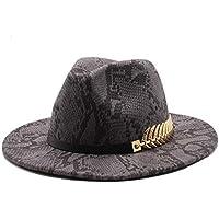 MMD-women's hat Moda Invierno de Las señoras del Sombrero de Fedora de algodón Panamá Jazz Sombrero de Fieltro decoración de Metal Sombrero de los Hombres Suave (Color : 8, Size : 56-58cm)