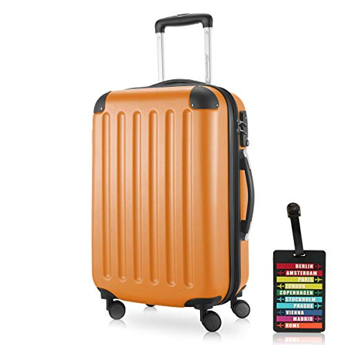 Hauptstadtkoffer - Spree Handgepäck Kabinentrolley Bordgepäck Hartschalen-Koffer, sehr leicht, TSA, 55 cm, 42L, Orange +Design Kofferanhänger