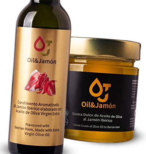 Pack 1 Botella de Aceite de Oliva Virgen Extra al Jamón Ibérico 250 ml y 1 Aove de Crema Dulce al Aceite de Oliva y Jamón Ibérico 220 gm