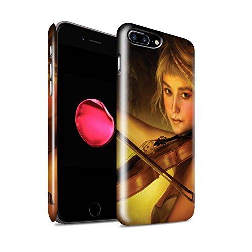 Officiel Elena Dudina Coque / Clipser Brillant Etui pour Apple iPhone 8 Plus / Violoncelle/Nuages Design / Réconfort Musique Collection Beauté/Violon