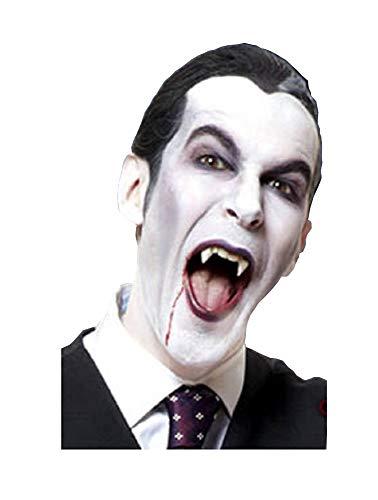 shoperama 2 Vampir-Zähne mit Kleber wiederverwendbar Fangzähne Eckzähne Dracula Blutsauger Fledermaus Wolf Dämon FX Halloween