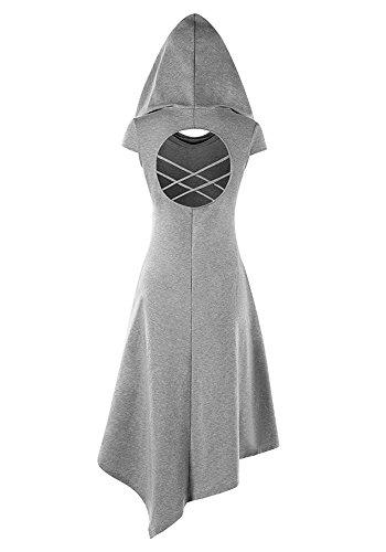 Pommaxe Damen Gothic Kleid Karneval Kostüm Cosplay Kurzarm Hoodie Sommer Schnürung Rückenfrei Kapuzen Party Minikleid (Gothic Kleid Frauen)