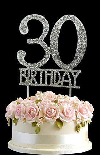 Kristall monogran Happy 30th Birthday Cake Topper Strass mit Silber Bling Kuchen Dekoration Party Happy Birthday 30 (30th Bday Dekorationen)