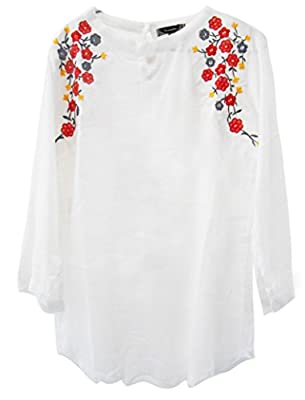 Triumphin Women's White Embroidered Cotton Top